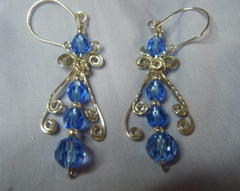 Glamorous and Fun Victorian Silver and Blue Earrings