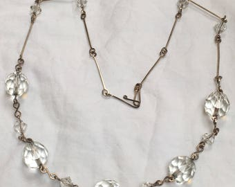 Vintage Art Deco 1930s crystal glass bead necklace. Rolled gold wire chain