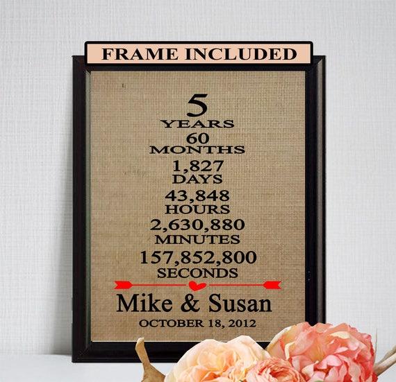 5 Wedding Anniversary Gifts: 5th Wedding Anniversary Gift/ 5th Anniversary Gift/ 5 Years Of