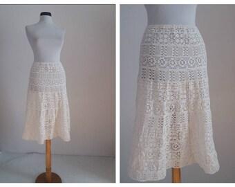 Vintage crochet skirt | 1970s white cotton skirt | 70s crochet skirt