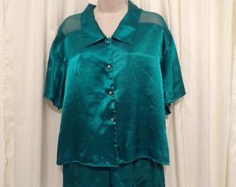 Vtg Vintage Victoria's Secret 2pc pajama set pj 100% Green Sz S Small