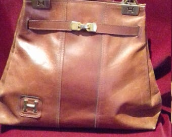 1960s Leather Handbag / Purse / Symbol details the front and top of front handles.