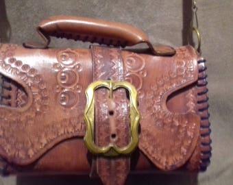 1950s / 60s Tooled Vintage Leather Ladies Handbag / Purse