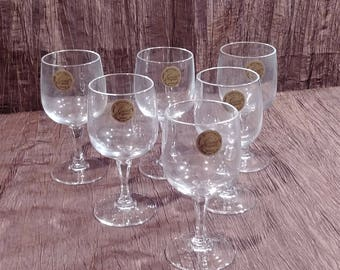 Set of 6 Cristal d' Arques Riviera crystal cordial glasses, free shipping