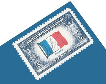 Pack of 25 Unused Flag of France Stamps - 5c - 1943 - Unused Postage - Quantity of 25