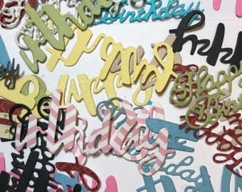 Happy Birthday Die Cut Words//Collage Die Cuts//Journal Die Cuts