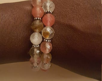 Facted Cherry gemstone bracelets, Arm Candy, Stackable bracelets.