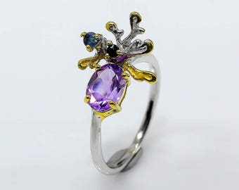 Purple Amethyst Ring, Anniversary Ring, Flower ring, Push Present, February Birthstone Jewelry, Ocean Ring, Delicate Ring, Cocktail Ring