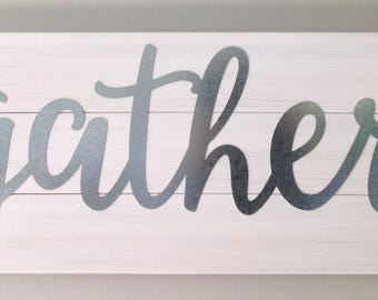Gather sign galvanized letters galvanized sign farmhouse decor housewarming gift Mother's Day gift shabby chic decor rustic sign wall decor