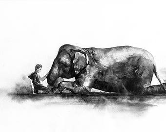 Watercolor Digital Print Elephant Nature Painted Illustration Gift Nursery Baby Room Wall Decor Animal Painting Printable Art Digital Print