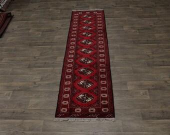 3X10 Gorgeous Hallway Handmade Turkoman Persian Area Rug Oriental Carpet 2ʹ7X10