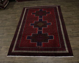 Amazing Rare Hand Knotted Tribal Balouch Persian Rug Oriental Area Carpet 6'7X10