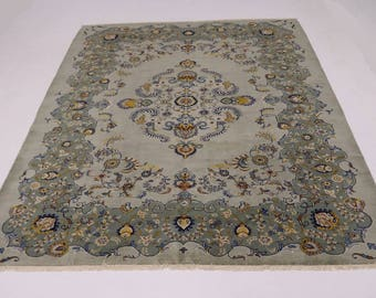 Beautiful Great Shape Vintage Sage Kashan Persian Rug Oriental Area Carpet 11X14