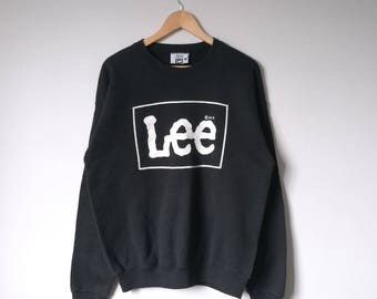 Vintage 90s Lee Jumper Pullover Sweatshirt Lee Big Logo Spell Out Lee Shirt Jacket Jeans Streetwear Hip Hop Swagger Made in Usa Large Size