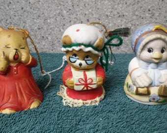 Porcelain animal bells (set of 3) from Jasco and unknown manufacturer, made in Taiwan