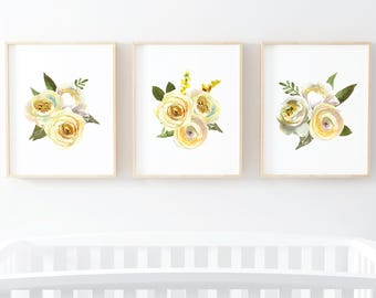 Floral Watercolor Wall Art Set Cream and Yellow Set of 3 digital art prints instant download 8x10 and 11x14 set of 3 floral art prints