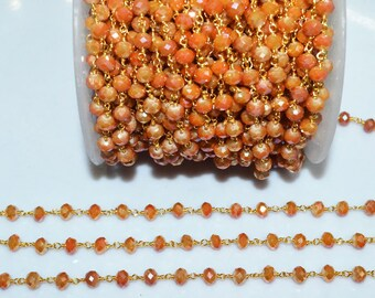 Brand New Mystic Shaded Carnelian Hydro Quartz Glass Rosary Bead Chain-Faceted Wire Wrapped Chain,Sold By Foot, 5.50-6 mm-RB5684