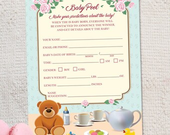 "Printable Tea Party Baby Shower Prediction Game Card - 5""x7"", Instant Download JPG"