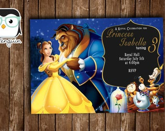Princess Belle Invitation, Beauty and the beast invitation, Princess Belle Birthday, disney princess invite, Princess birthday invitation
