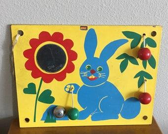 Vintage Brio Wooden Crib Toy- Blue Bunny Baby Activity Center- Brio Made in Sweden 1960's Baby Toy