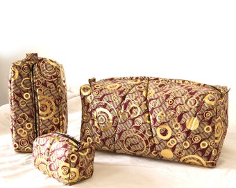 Toiletry bag / makeup bag / gold colored Wax / African / pouch