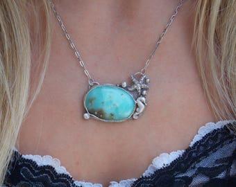 SALE  Mermaid sterling metalwork sterling necklace sterling metalsmith pendant sterling seahorse necklace boho sterling starfish necklace
