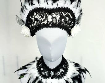 Victorian lady kokoshnik with matching collar, SET of 2 pieces, collar and headpiece set in black white