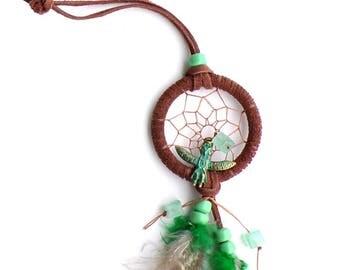 Small Totem Dream Catcher / Green Dream Catcher / Fluorite Dreamcatcher / Owl Totem / Gift / Patina Brass Totem / Handmade Dream Catcher
