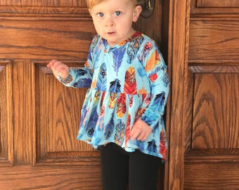 Trendy feathers high low peplum top // girls tunic - kids top - girl outfit - spring outfit - feathers - twirly top - birthday top