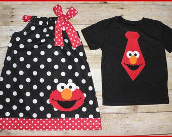 Brother Sister Sibling Sesame Street Elmo Pillowcase style dress and Tie Tee Shirt