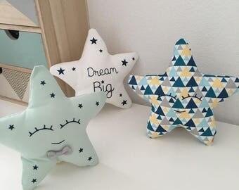 Nursery decor kids and baby - set cushion stars for boy - blue Scandinavian - bowtie - Pretty Sweet Cushion for Baby