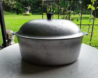 Club Cast Aluminum Roaster ~ Oval ~ 1940s ~ With Lid ~ 6 to 7 Qt. ~ Covered Roaster ~ Hammercraft ~ Hammered Aluminum Finish ~ with Lid
