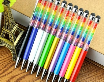 Rainbow Crystal Pen 2 in 1 Stylus Black Ink Ballpoint Pens