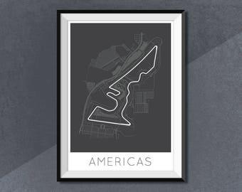 Circuit of the Americas Formula 1 Print, F1 Race Track Circuit Map Texas USA