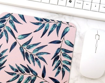Natural Pattern Mouse Pad Pink Leaves Desk Mat Desk Inspiration Gift Idea For Women