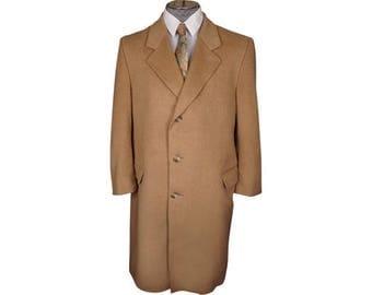 Vintage 1980s Pure Cashmere Overcoat Camel Color Coat Mens Size L 42 Short