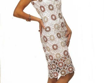 Ladies dress white crochet with colorful motifs  / custom