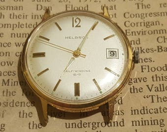 AMAZING 1960's Helbros Gold Tone West German 17 Jewel Automatic Mechanical Watch w/ Date Feature (Serviced)