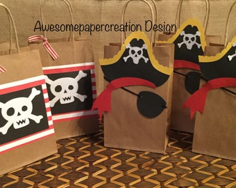 Pirate favor bags,set of 10,pirate goodie bags, pirate party decorations,pirate favors, pirate birthday party, pirate party goody bags,