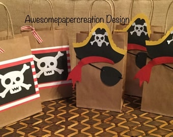 Pirate favor bags,pirate goodie bags, prate party theme ,set of 10, pirate treat bags, pirate birthday party, pirate party goody bags,