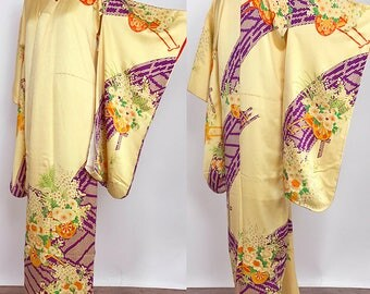 "Japanese K81908 Cute Kids Kimono ""Kyo-Yuzen"" Yotsumi-Haregi Vintage"