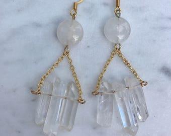 Quartz Spike Triangle Gold Chain Long Dangle Earrings Boho Chic Gold Jewelry