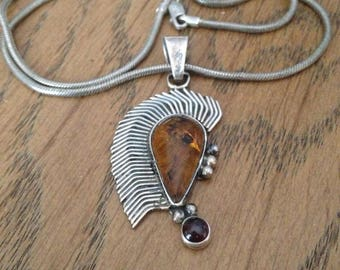 Sterling Silver Amber and Garnet Necklace