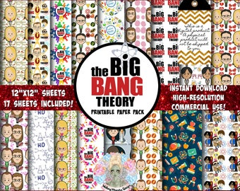 The BIG Bang Theory, Bazinga, Sheldon Cooper, Digital Paper Pack, Scrapbook Paper, Digital Paper Commercial Use, TV Shows, Pop Culture, Inst