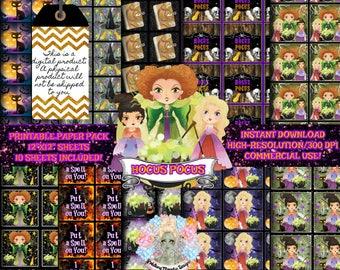HOCUS POCUS, Halloween Digital Paper, Scrapbook Paper, Digital Paper Commercial Use, Digital Paper Pack, Witch Clipart, Witch Clipart, Insta