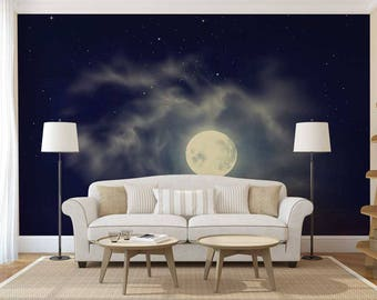 Wall Mural Of The Sky, Sky Wallpaper, Wall Decal Sky, Sky Wall Mural, Moon Wallpaper