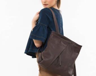 Brown leather rucksack, Backpack for women, Brown leather backpack, Brown backpack, Work backpack women, Laptop Bag