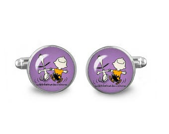 Snoopy Charlie Brown Cuff Links Snoopy Happy Dance Cuff Links 16mm Cufflinks Gift for Men Groomsmen Novelty Cuff links Fandom Jewelry