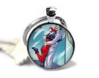 Joker Harley Quinn Keyring Keyfob Joker Keychain Fandom Jewelry Cosplay Fangirl Fanboy Novelty Keychain
