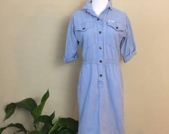 vintage denim dress - womens denim dress - utilitarian - womens clothing - dresses